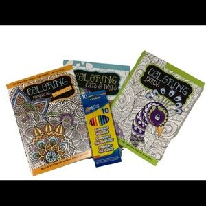 3 Pack Adult Coloring Books with colored pencils